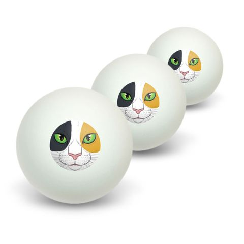 Calico Cat Face - Pet Kitty Novelty Table Tennis Ping Pong Ball 3 Pack