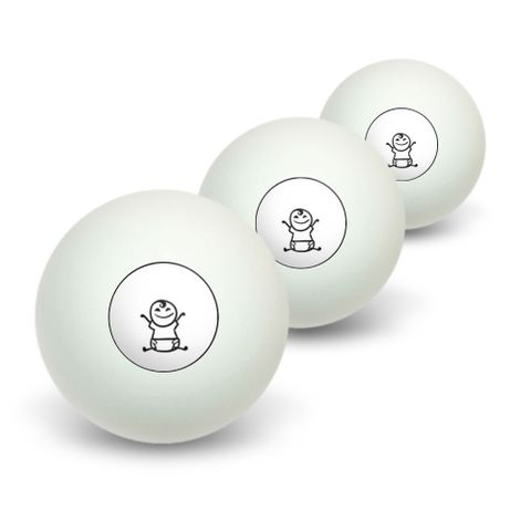Baby Stick Figure Family Novelty Table Tennis Ping Pong Ball 3 Pack