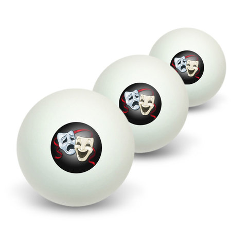 Drama Comedy Tragedy Masks - Acting Theatre Theater Novelty Table Tennis Ping Pong Ball 3 Pack