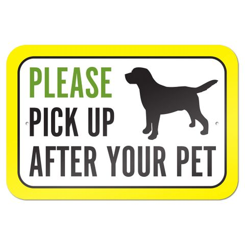 "Please Pick Up After Your Pet 9"" x 6"" Metal Sign"