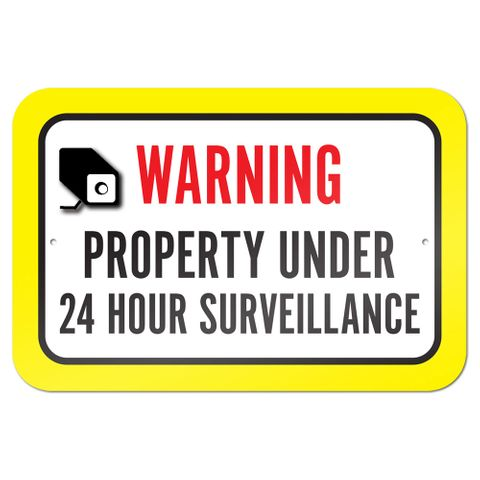 "Warning Property Under 24 Hour Surveillance 9"" x 6"" Metal Sign"