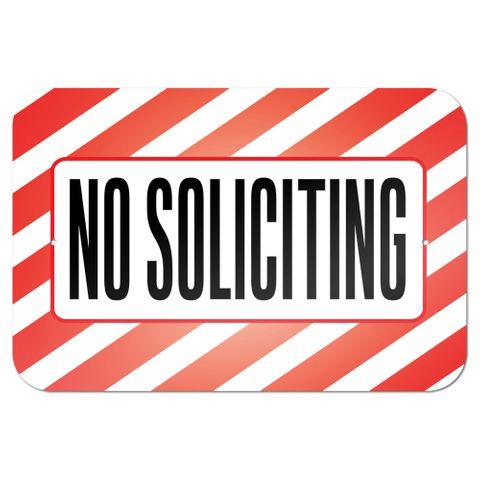 "No Soliciting 9"" x 6"" Metal Sign - No. 1"