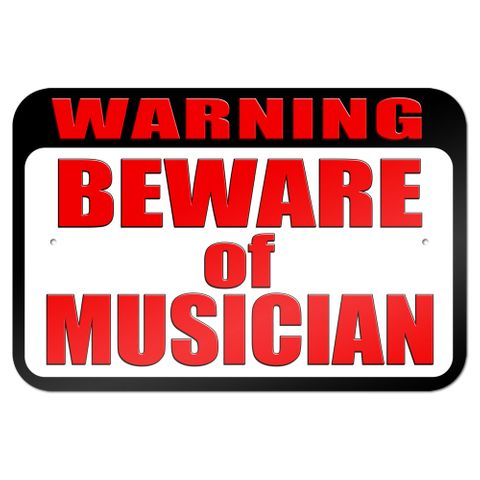 "Warning Beware of Musician 9"" x 6"" Metal Sign"