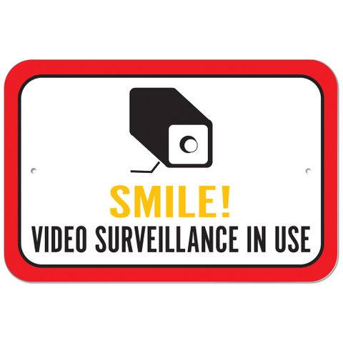 Smile Video Surveillance In Use Plastic Sign