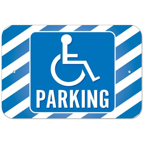 Handicapped Parking Blue Stripes Plastic Sign
