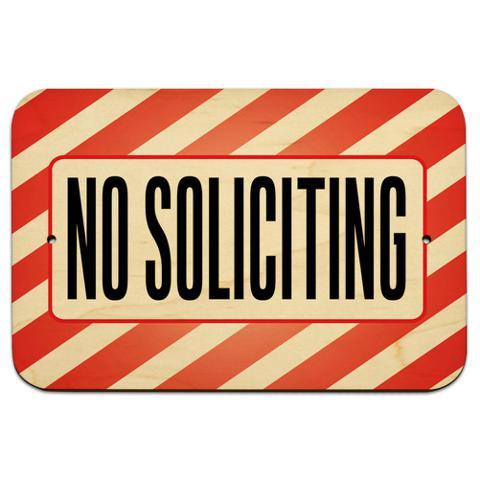 """No Soliciting 9"""" x 6"""" Wood Sign - No. 1"""