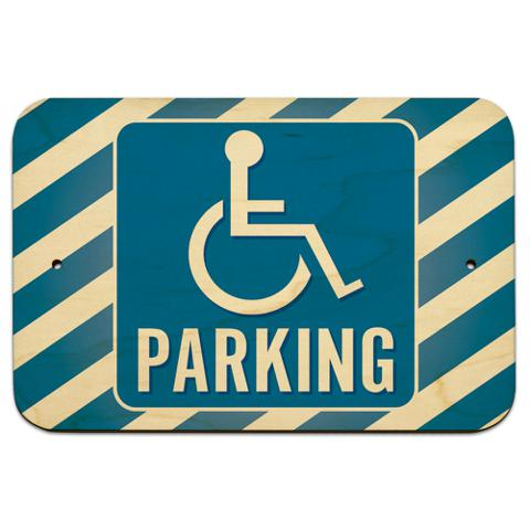 "Handicapped Parking 9"" x 6"" Wood Sign - No. 1"