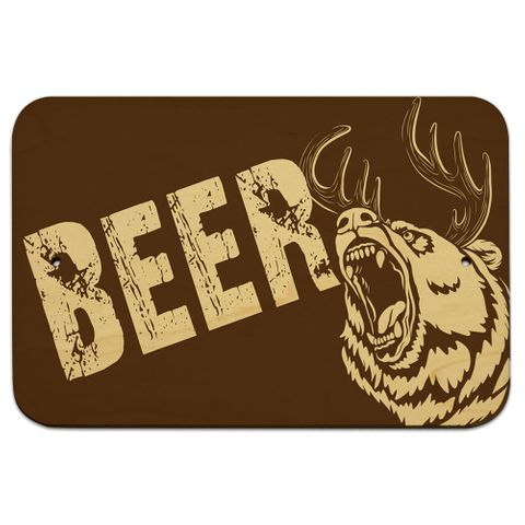 "Fierce Beer Bear Deer 9"" x 6"" Wood Sign"
