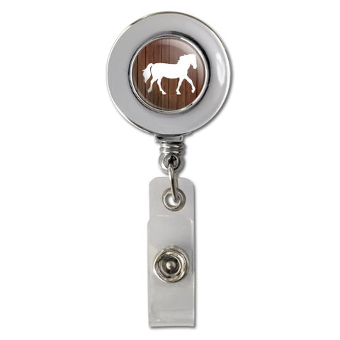 Horse Silhouette Cowboy Western Retractable Reel Chrome Badge ID Card Holder Clip