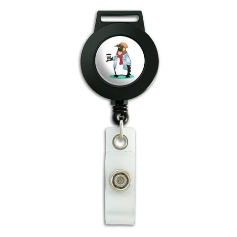 Cool Penguin Hipster with Coffee Lanyard Retractable Reel Badge ID Card Holder