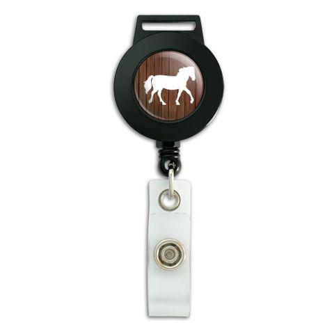 Horse Silhouette Cowboy Western Lanyard Retractable Reel Badge ID Card Holder