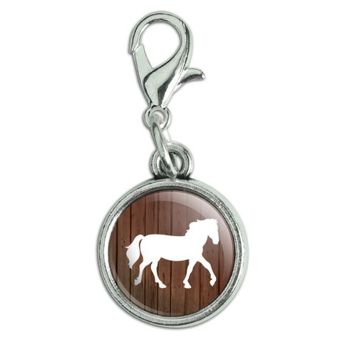 Horse Silhouette Cowboy Western Antiqued Bracelet Pendant Zipper Pull Charm with Lobster Clasp