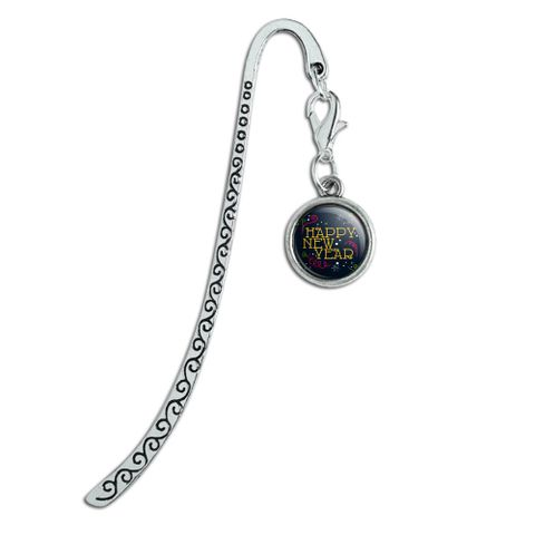 Happy New Year Metal Bookmark Page Marker with Charm