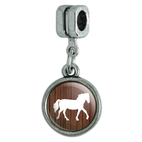 Horse Silhouette Cowboy Western Italian European Style Bracelet Charm Bead
