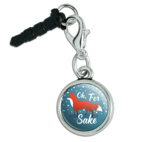 Oh For Fox Sake Funny on Teal Mobile Cell Phone Headphone Jack Anti-Dust Charm fits iPhone iPod Galaxy