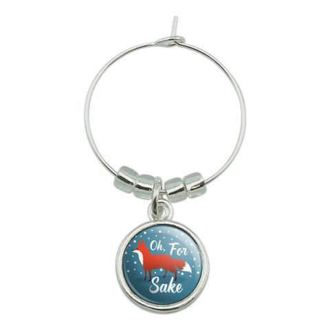 Oh For Fox Sake Funny on Teal Wine Glass Charm Drink Marker