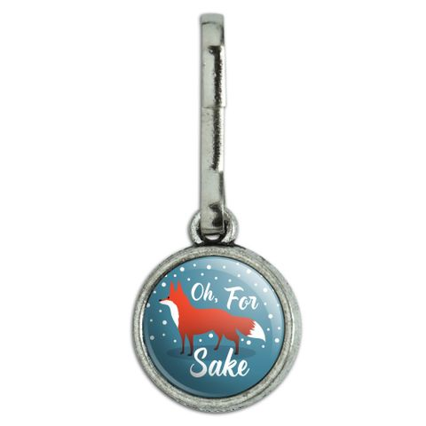 Oh For Fox Sake Funny on Teal Antiqued Charm Clothes Purse Suitcase Backpack Zipper Pull Aid