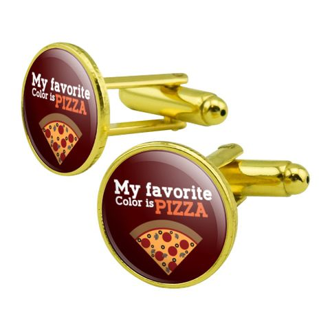 My Favorite Color is Pizza Round Cufflink Set Gold Color