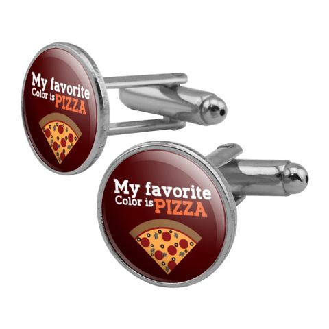 My Favorite Color is Pizza Round Cufflink Set Silver Color