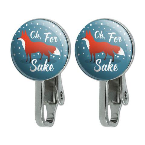 Oh For Fox Sake Funny on Teal Novelty Clip-On Stud Earrings
