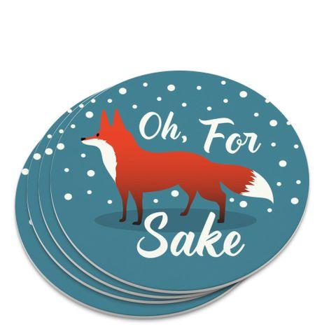 Oh For Fox Sake Funny on Teal Novelty Coaster Set