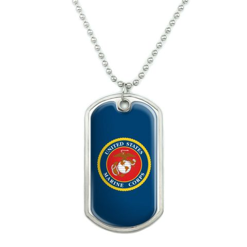 Marines USMC Logo Blue Red Gold Officially Licensed Military Dog Tag Pendant Necklace with Chain