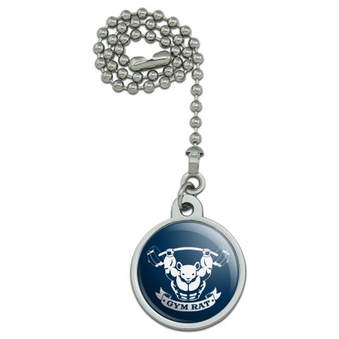 Gym Rat Workout Weight Lifting Ceiling Fan and Light Pull Chain