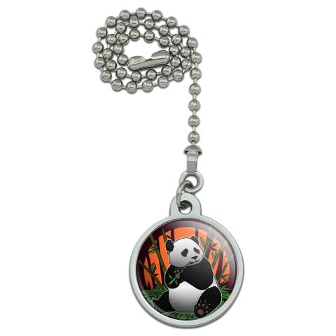 Giant Panda Bear Eating Bamboo Ceiling Fan and Light Pull Chain