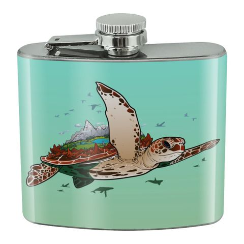 Sea Turtle Flying Stainless Steel 5oz Hip Drink Kidney Flask