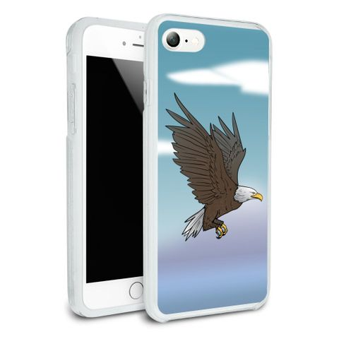 Bald Eagle Flying Protective Slim Fit Hybrid Rubber Bumper Case Fits Apple iPhone 8, 8 Plus, X