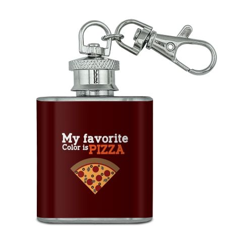 My Favorite Color is Pizza Stainless Steel 1oz Mini Flask Key Chain