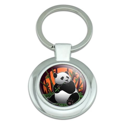 Giant Panda Bear Eating Bamboo Classy Round Chrome Plated Metal Keychain