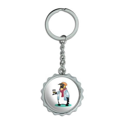 Cool Penguin Hipster with Coffee Chrome Plated Metal Pop Cap Bottle Opener Keychain Key Ring