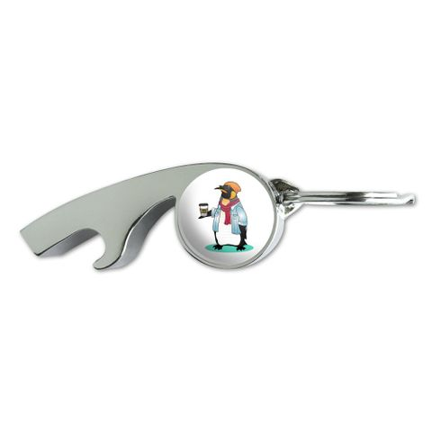Cool Penguin Hipster with Coffee Chrome Plated Metal Whistle Bottle Opener Keychain Key Ring