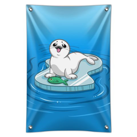 Cute Harp Seal Pup on Ice with Fish Home Business Office Sign