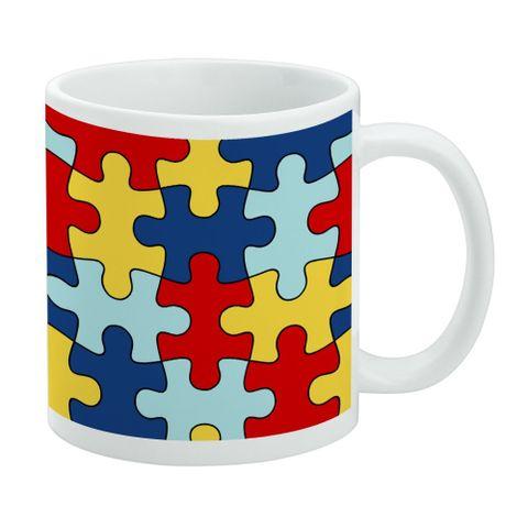 Autism Awareness Diversity Puzzle Pieces White Mug