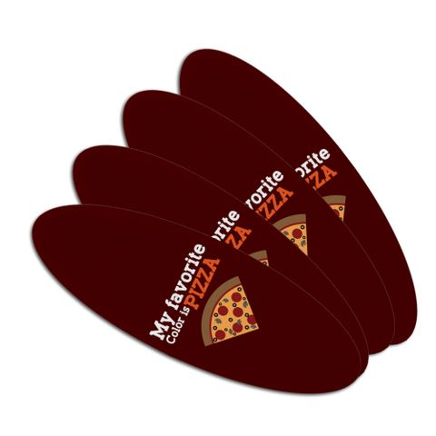 My Favorite Color is Pizza Double-Sided Oval Nail File Emery Board Set 4 Pack