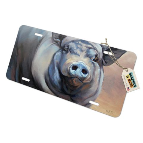 Big Large Happy Pig Hog Novelty Metal Vanity Tag License Plate