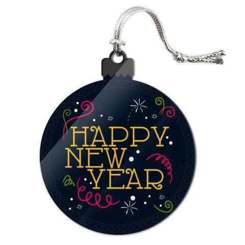 Happy New Year Acrylic Christmas Tree Holiday Ornament
