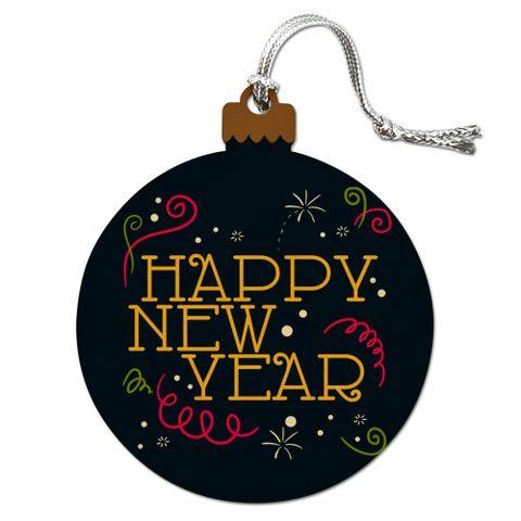 Happy New Year Wood Christmas Tree Holiday Ornament