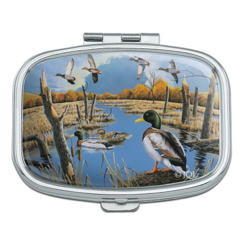 Ducks in the Lake and in Flight Rectangle Pill Case Trinket Gift Box