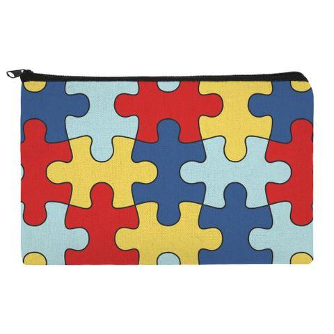 Autism Awareness Diversity Puzzle Pieces Makeup Cosmetic Bag Organizer Pouch