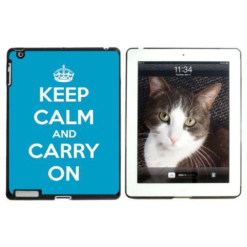 Keep Calm and Carry On Blue Apple iPad Case