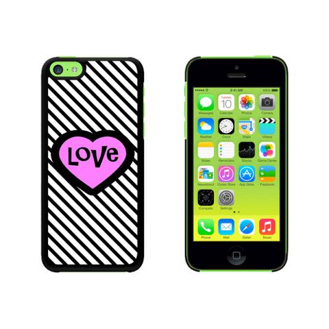 Big Pink Heart Love Black Stripes Case for Apple iPhone 5C