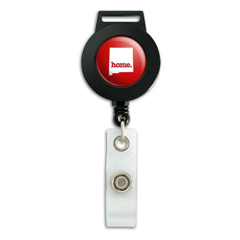 New Mexico NM Home State Retractable Badge ID Card Holder - Solid Red