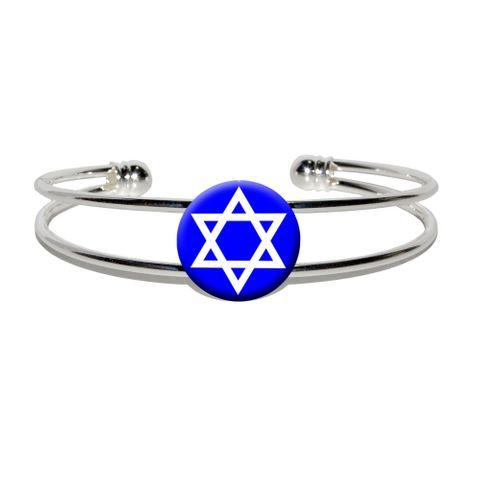 Star of David - Shield Jewish Silver Plated Metal Cuff Bracelet