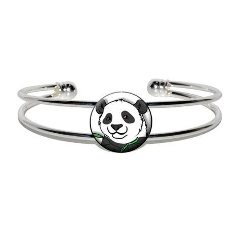 Panda Bear Silver Plated Metal Cuff Bracelet
