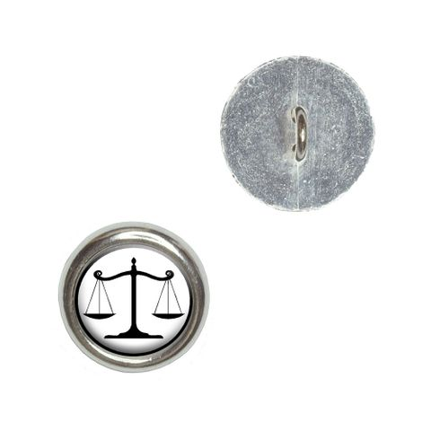 Balanced Scales of Justice Symbol Legal Lawyer White and Black Buttons - Set of 4