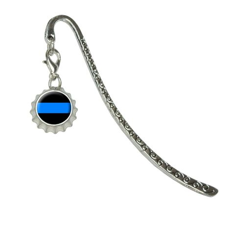 Thin Blue LineMetal Bookmark with Bottlecap Charm