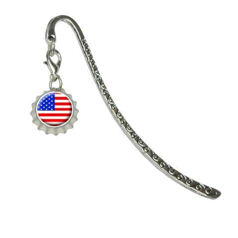 American USA Flag - PatrioticMetal Bookmark with Bottlecap Charm
